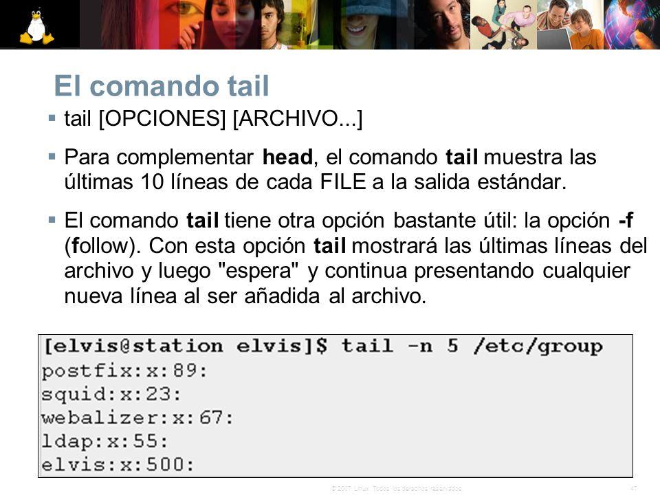 El comando tail tail [OPCIONES] [ARCHIVO...]